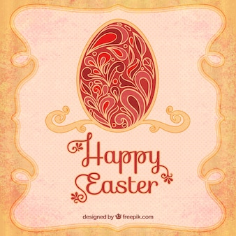 Happy easter card in art deco style
