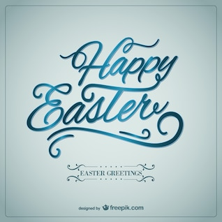 Happy easter card in calligraphic style