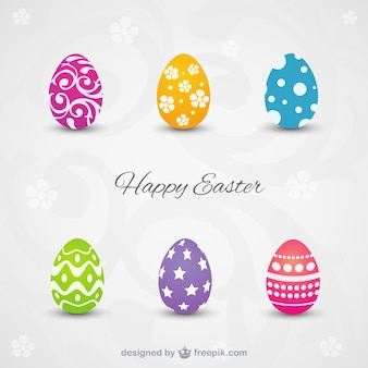 Happy easter card with colorful eggs