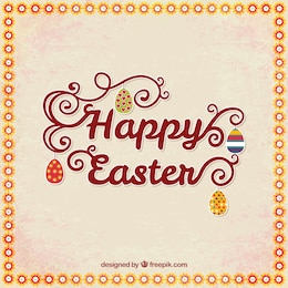 Happy easter card with lettering