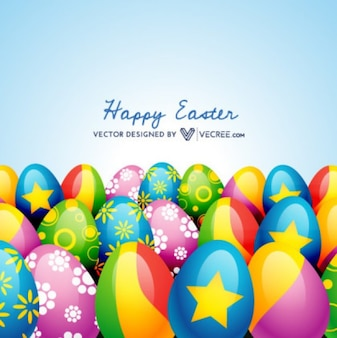 Happy Easter Decorated Eggs Background