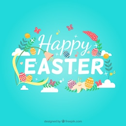 Happy easter with flowers and decorated eggs
