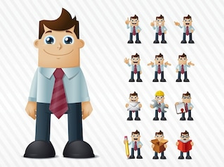 Happy facial expression cartoon businessman vector