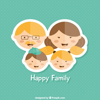 Happy family in sticker style