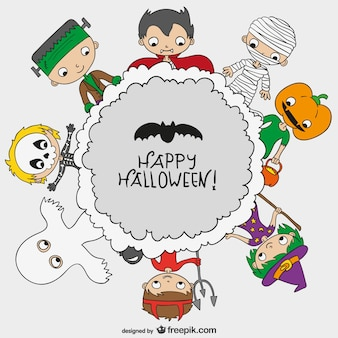 Happy Halloween background with kids