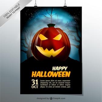 Happy Halloween template with pumpkin