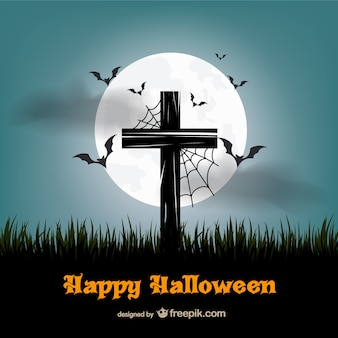 Happy Halloween vector with cross