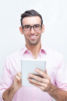 Happy Handsome Business Man Using Tablet