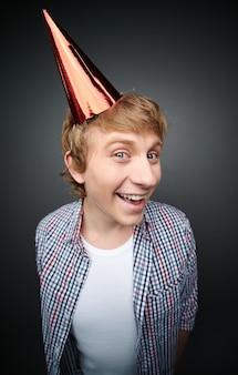 Happy man in a festive hat