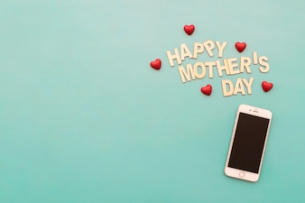 happy mother's day  lettering and smartphone
