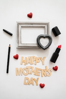Happy mother's day lettering with lipstick and eyeliner