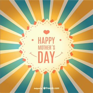 Happy mother's day sunburst retro card