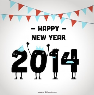 Happy New Year 2014 Celebrating Design