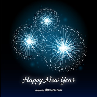 Happy New Year card with fireworks