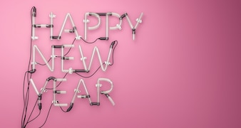 Happy New Year Neon Light Pink 3D