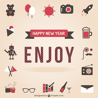 Happy New Year set of icons