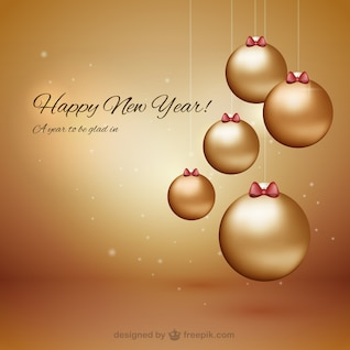 Happy New Year with baubles