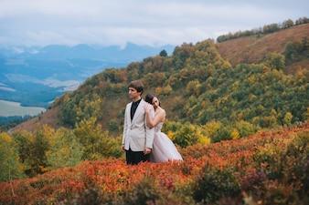 新しく幸せにされたカップルは山の中でポーズをとります
