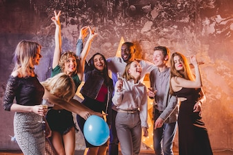 Happy people celebrating and having fun