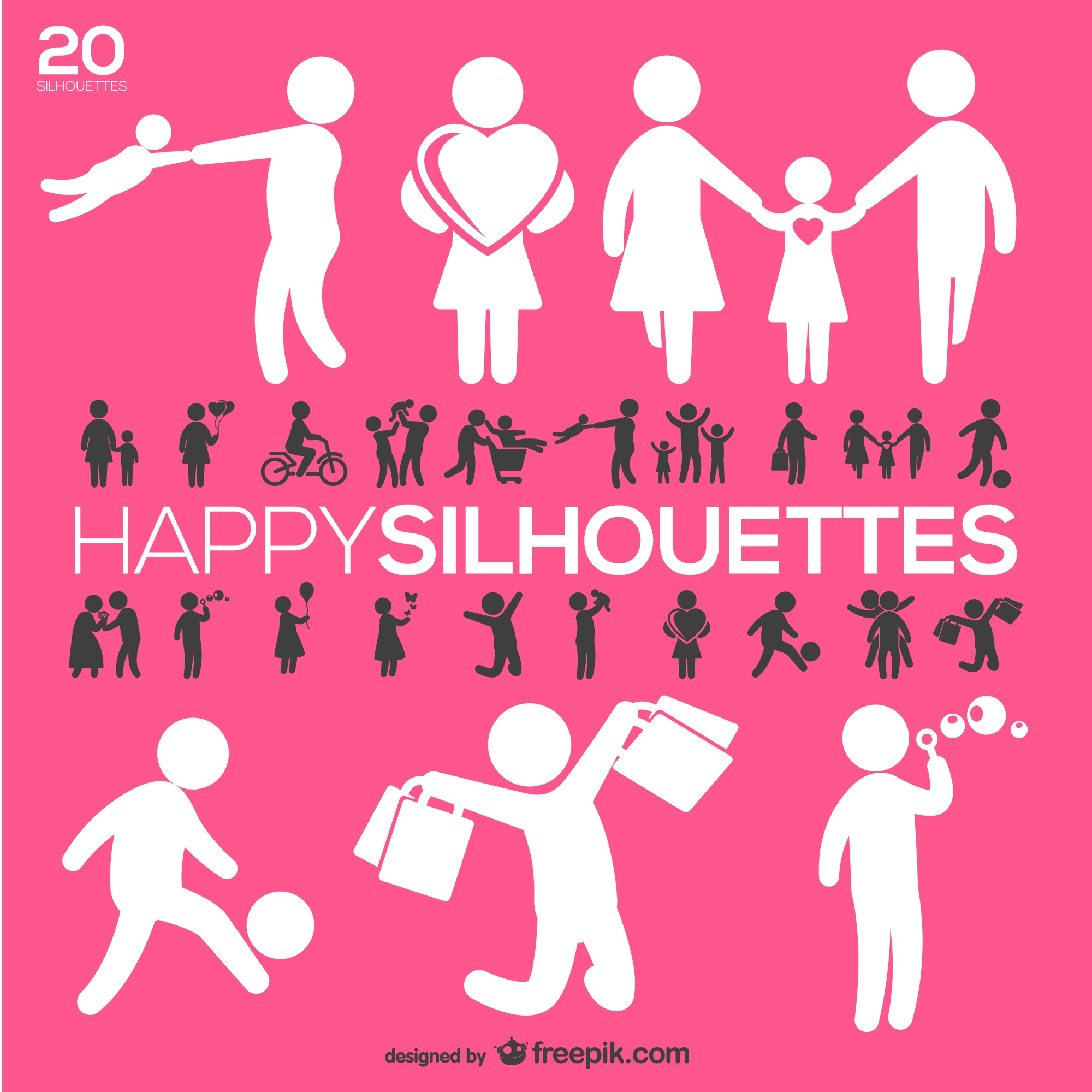 Happy people silhouettes set