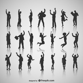 Happy people silhouettes