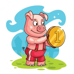 Happy pig with golden coin