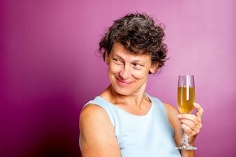 Happy successful purple beauty person