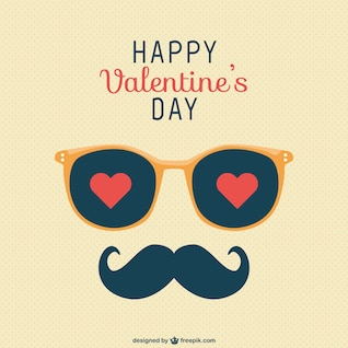 Happy Valentine's Day moustache greeting