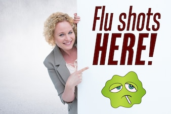 Happy woman with a poster to prevent the flu