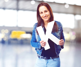 Happy woman with the letter k