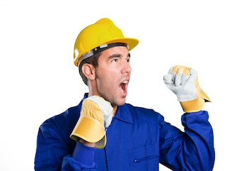Happy worker celebrating on white background