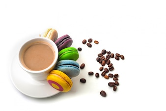 Having a coffee with macarons