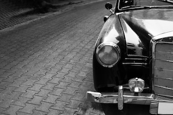 Headlight lamp classic car - black and white color effect style