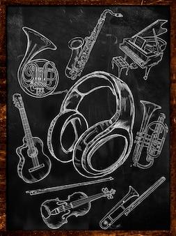 黒板にヘッドフォンスケッチ音楽楽器