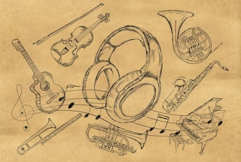 Headphone Sketch Music Instruments on Brown Paper