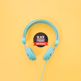 Headphones and black friday label