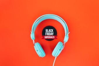 Headphones around black friday label