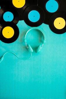 Headphones below vinyls