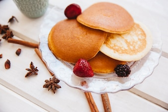 Healthy breakfast concept with pancakes on plate