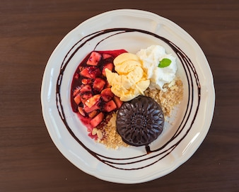 Healthy breakfast with fruit and egg