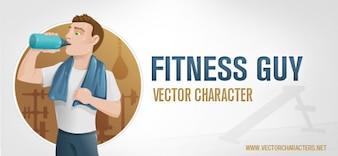 Healthy fitness man vector character