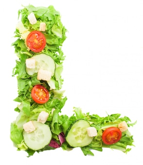 Healthy letter l with vegetables