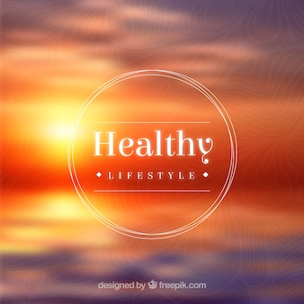 Healthy lifestyle badge on sunset background