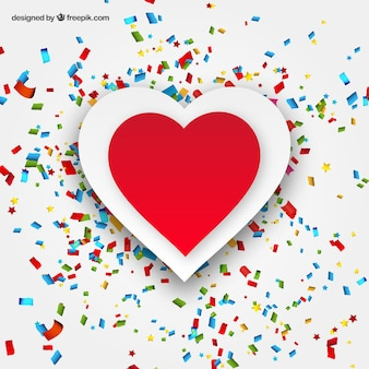 Heart and confetti greeting card