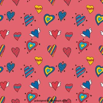 Heart doodles pattern