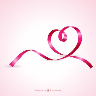 Heart from pink ribbon