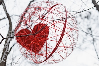 Heart in a red sphere