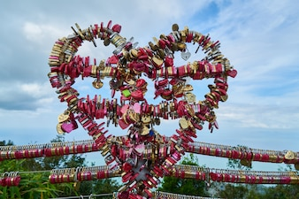 Heart made of padlocks