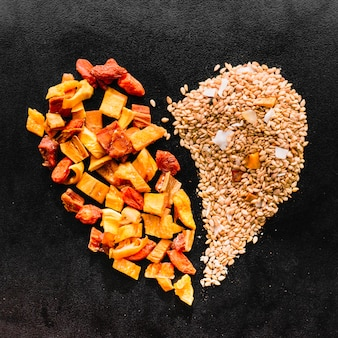 Heart made of seeds and dried fruit