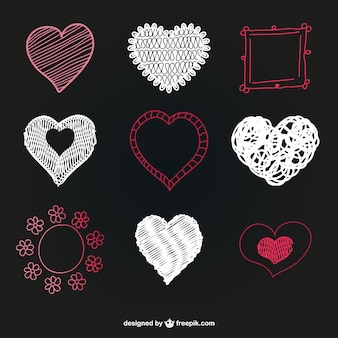 Heart shape vector graphics set